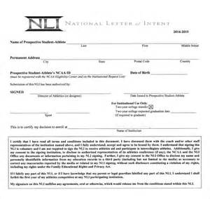 Scholarship Sle Letter Of Intent Ncaa Letter Of Intent 36 Images Ncaa Eligibility National Letter Of Intent Sle Templates