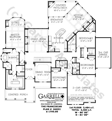 traditional style house plans franciscan house plan 04052 floor plan ranch style