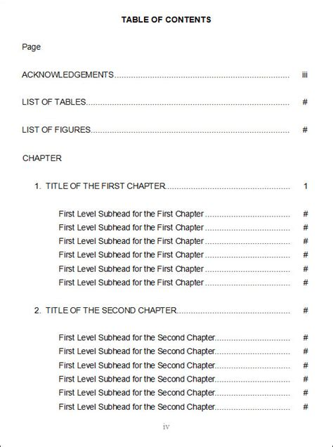 presentation table of contents template table of content templates