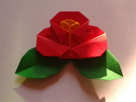 Origami Camellia - origami camellia folded by me designed by taichiro