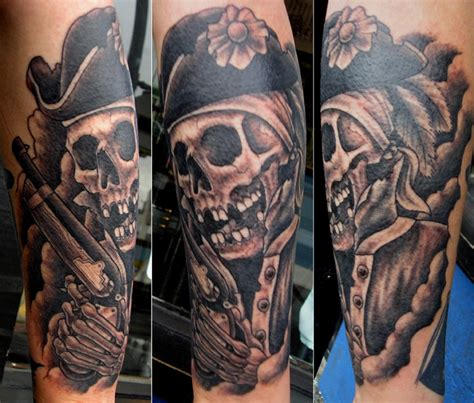 pirate skull 187 black amp blue tattoo