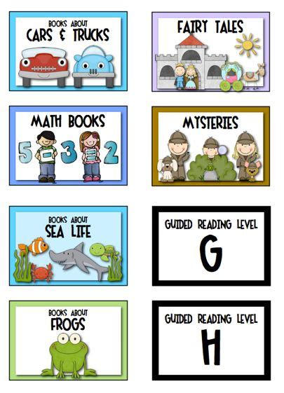printable genre labels for classroom library 237 best images about library spaces for kids on pinterest