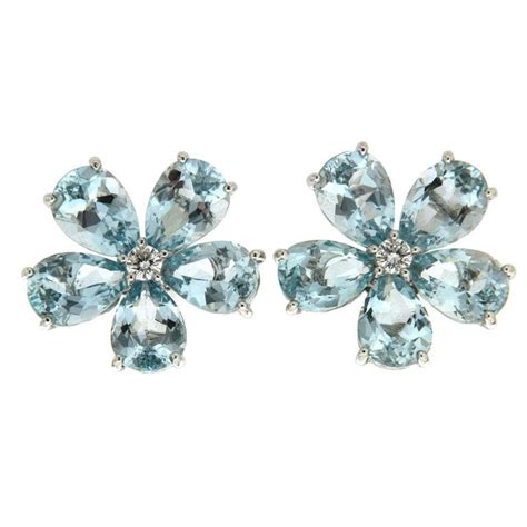 shaped st on jewelry pear shape aquamarine cluster earrings for sale at 1stdibs