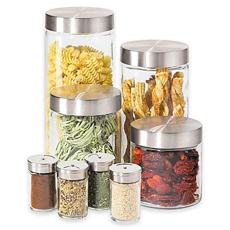 oggi kitchen canisters oggi 8 piece round glass canister set with spice jars