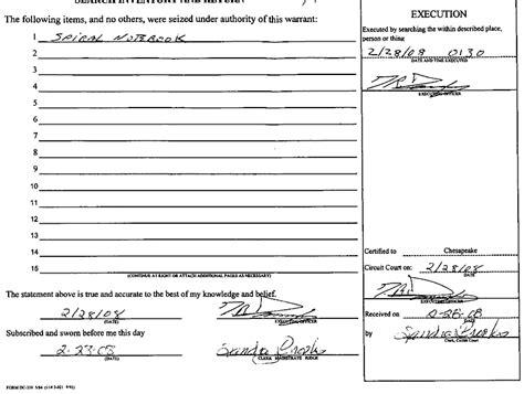 Search Warrant Document Document Affidavit For Search Warrant In Wesley Earnest