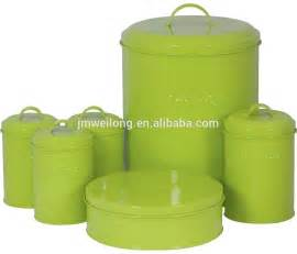 Kitchen Canisters Green chic retro large cream enamel metal bird feed storage box