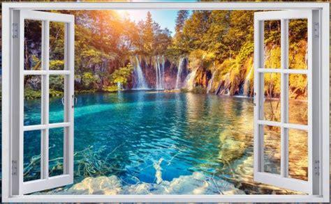 Wandaufkleber Natur by Wasserfall Natur Wald See Landschaft Wandtattoo