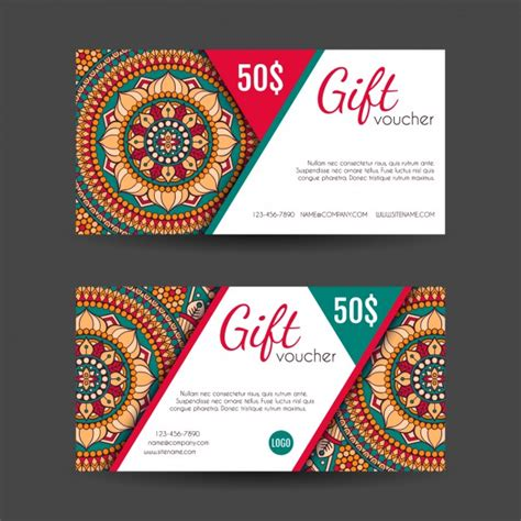 graphic design gift card template boho style gift vouchers designs vector free