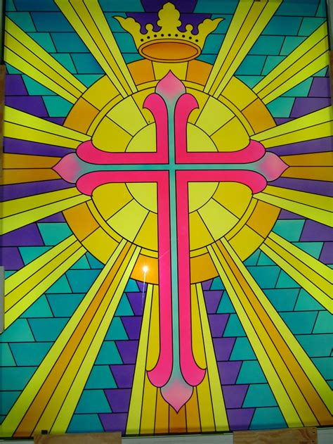 stained glass cross l beaming cross with crown glass window stained glass