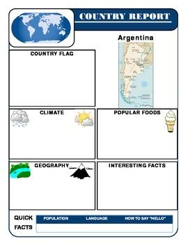 country report template set social studies geography