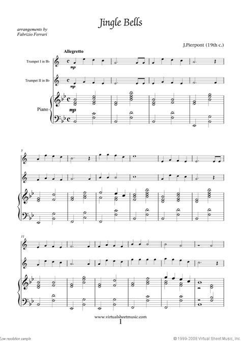 Easy Christmas Duets for Two Trumpets and Piano, Sheet Music