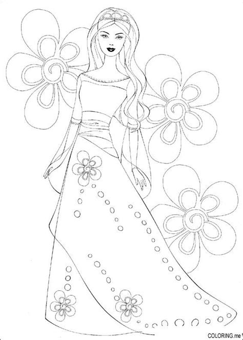 coloring page barbie dress flower coloring me