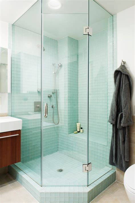glass tile in shower Bathroom Transitional with accent