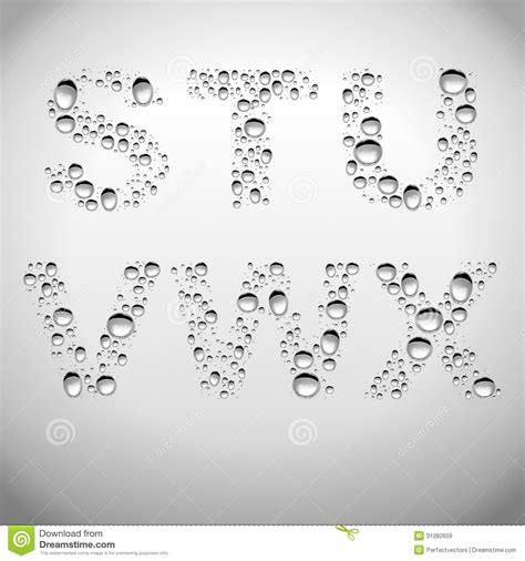 writing a referral letter realistic water drops font from s to x royalty free stock