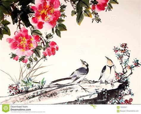 Bird Wall Art Stickers oiseau et arbre chinois de peinture d encre illustration