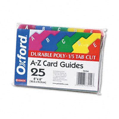 oxford index card tab template 1 5 oxford poly index card guides alphabetical a z assorted