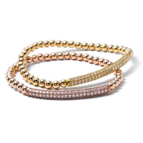 gold bead bracelet 18 carat gold filled beaded bracelet with bar