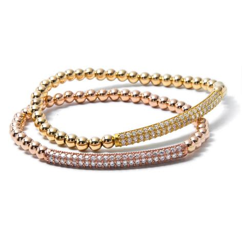 gold beaded bracelet 18 carat gold filled beaded bracelet with bar