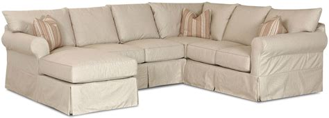 sofa covers for sectional slip cover sectional sofa with left chaise by klaussner
