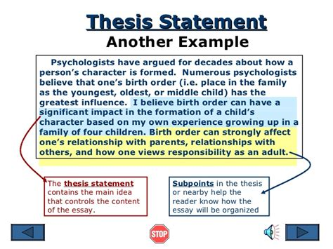 what should be in a thesis thesis statement