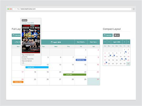 jquery event calendar plugins web graphic