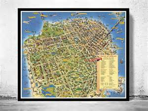 San Francisco Points Of Interest Map by Vintage Map Of San Francisco Pictorial Map Points Of