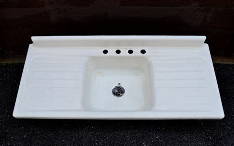 vintage cast iron porcelain sink vintage single basin drainboard porcelain cast