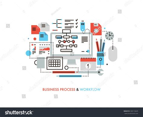 office layout and workflow thin line flat design business workflow stock vector