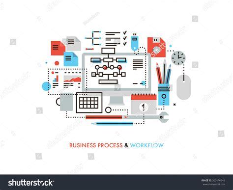 workflow organization thin line flat design business workflow stock vector