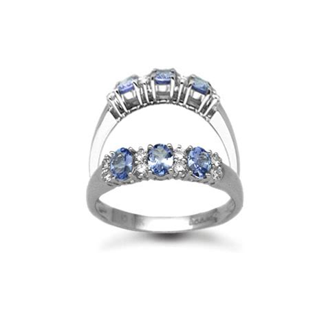 18ct white gold tanzanite and trilogy eternity