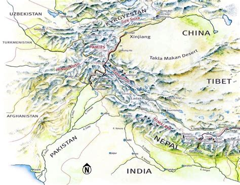 mountain map image gallery hindu kush mountains map