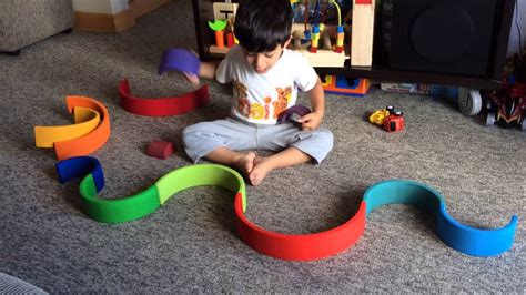 moksh plays  grimms rainbow stacking blocks  open