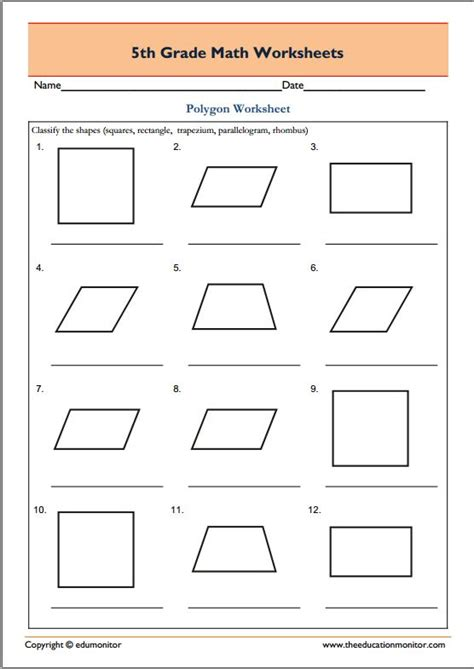 geometric patterns worksheets 5th grade geometric 5th grade geometry math worksheets polygons edumonitor