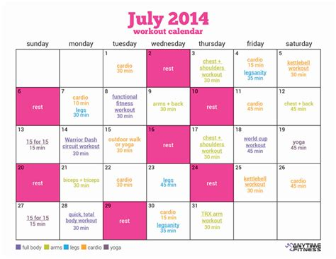 Fitness Calendar July Fitness Calendar 24 Workouts To A Healthier You