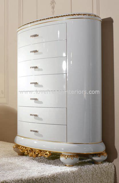 White Gloss Tallboy Drawers by Venezia 7 Drawer Tallboy Oval Chest Gloss White