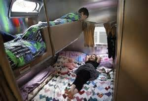 Full Over Queen Bunk Bed Tour Our Airstream Kids Bunks Back Bedroom Area