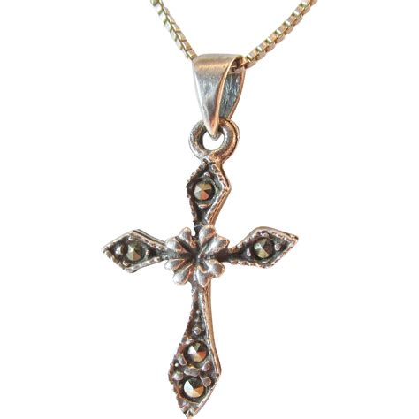 sterling marcasite cross pendant vintage from ninas on