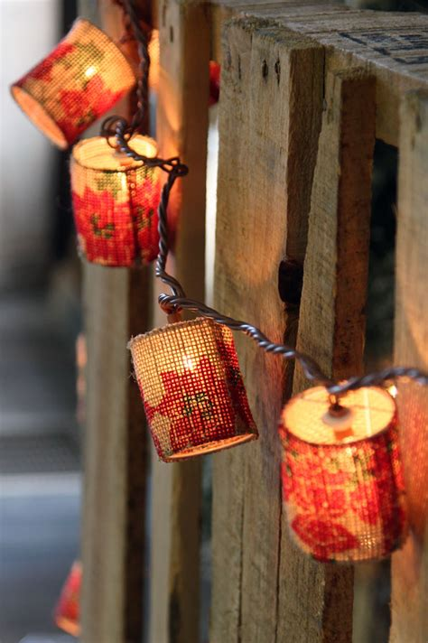 poinsettia design burlap patio string lights 10 lights