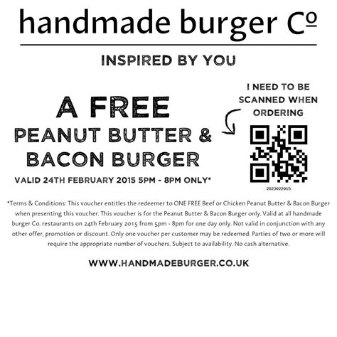 Handmade Burger Co Voucher - free burger at handmade burger company gratisfaction uk