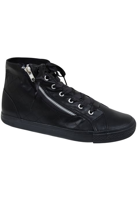 F Ribbon Top black faux leather ribbon lace hi top trainers in eee fit