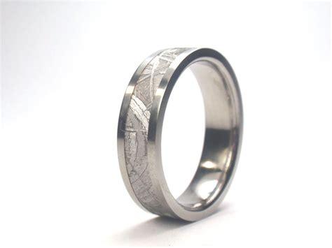 Titan Ring by Titanium Ring W Gibeon Meteorite