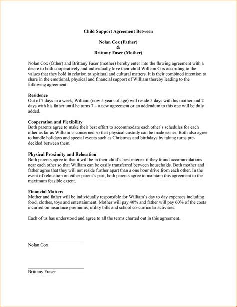 Letter Of Agreement On Child Support Child Custody Agreement Template Template Design