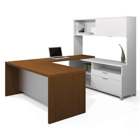bestar pro linea u shaped desk with hutch