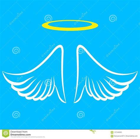 ziel engels engelenvleugels met aureool vector illustratie