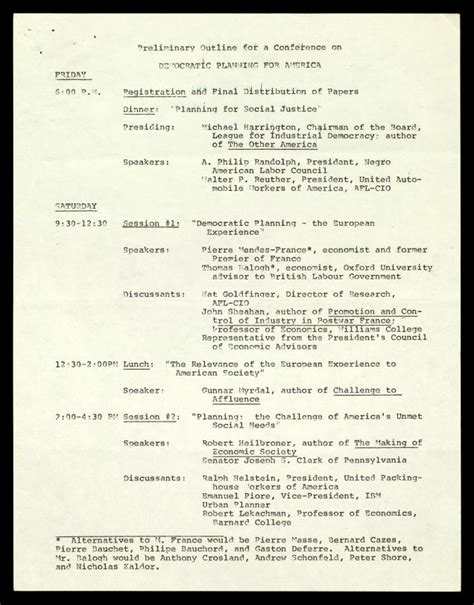 Tak Preliminary Outline Development Plan by Preliminary Outline For A Conference On Democratic Planning For America The Martin Luther King