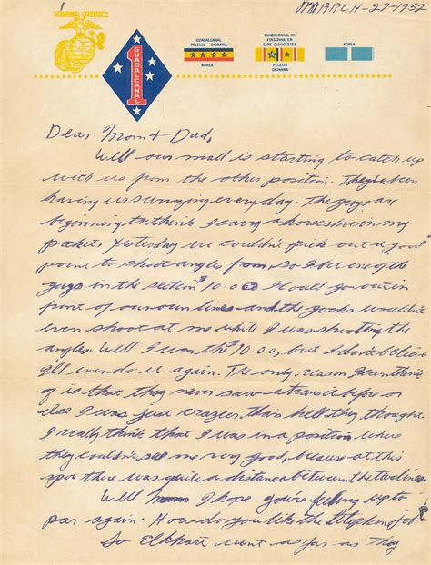 Release Letter South Korea Korean War Letters Korean War Letter 1st Marine Division