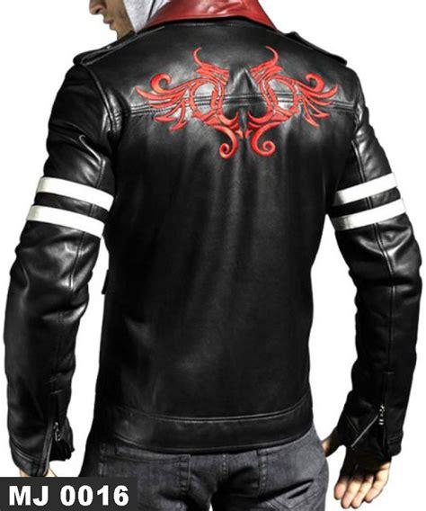 jaket kulit kerah merah mj 0016 putih model terbaru
