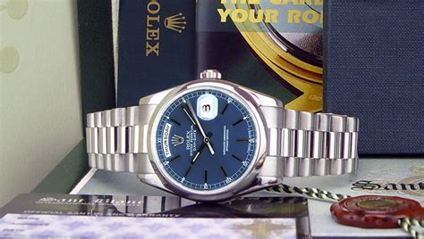 Swiss Watches ROLEX   36mm Platinum Day Date President Blue Stick Dial   118206