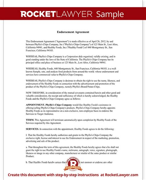 endorsement contract template endorsement agreement rocket lawyer