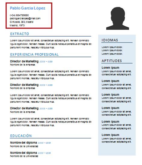 Modelo Y Estructura De Curriculum Vitae Estructura Curriculum Vitae 191 Qu 233 Apartados Incluir En Tu Cv